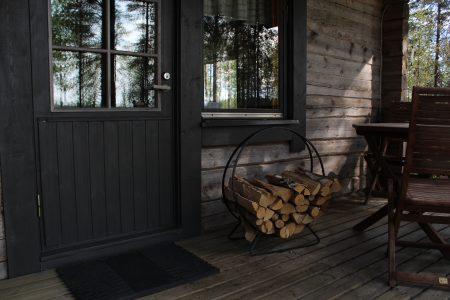 black wooden framed glass door