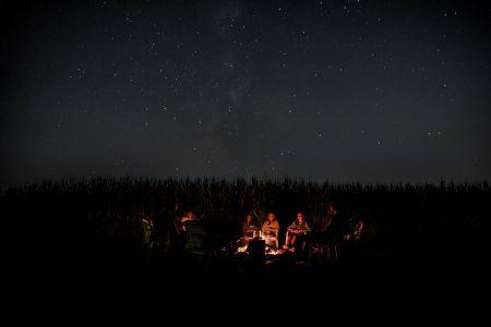 camping under black sky
