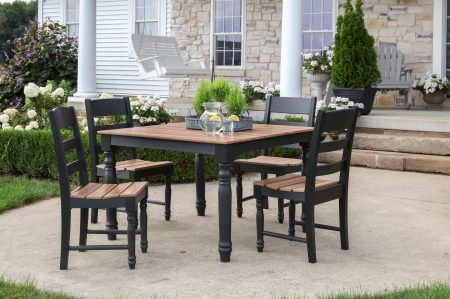 square brown and black wooden patio dining table surrounded by dining chairs