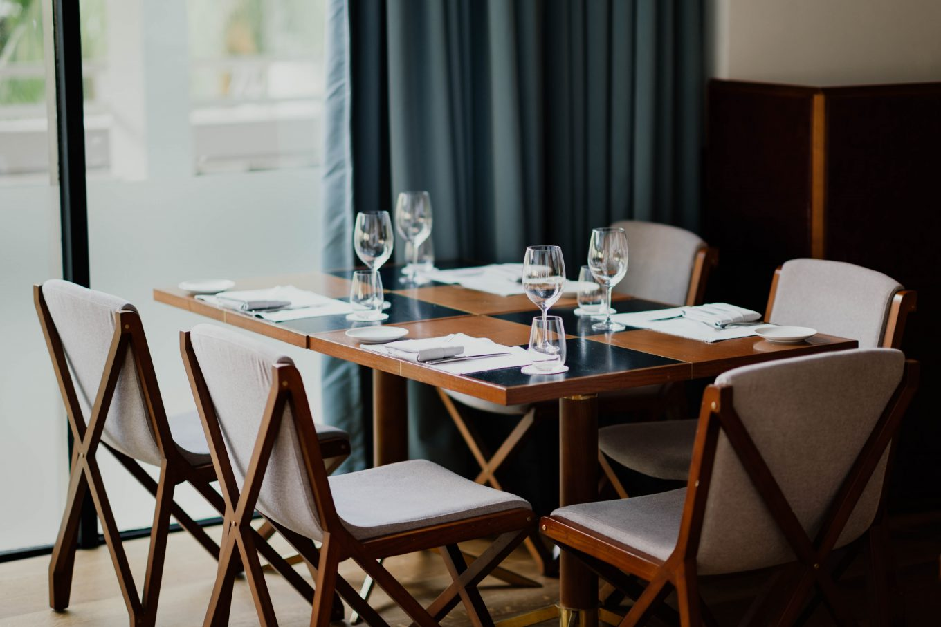 brown table with chairs