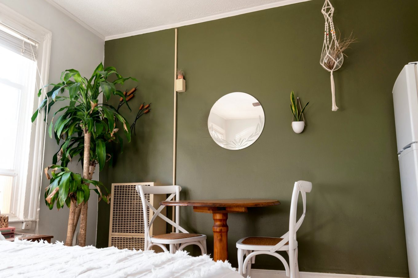 white and brown wooden chair beside green potted plant